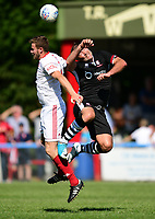 Lincoln City's Matt Rhead vies for possession with Lincoln United's Sean Wright<br /> <br /> Photographer Chris Vaughan/CameraSport<br /> <br /> Football - Pre-Season Friendly - Lincoln United v Lincoln City - Saturday 8th July 2017 - Sun Hat Villas Stadium - Lincoln<br /> <br /> World Copyright &copy; 2017 CameraSport. All rights reserved. 43 Linden Ave. Countesthorpe. Leicester. England. LE8 5PG - Tel: +44 (0) 116 277 4147 - admin@camerasport.com - www.camerasport.com