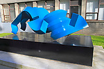 'Chac Mool' sculpture by Sebastian 2002, spray painted mild steel, Trinity College, Dublin, Ireland, Republic of Ireland