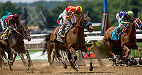 ELMONT, NY - JUNE 09: Hoppertunity  #2, ridden by Flavien Prat, wins the Brooklyn Invitational Stakes on Belmont Stakes Day at Belmont Park on June 9, 2018 in Elmont, New York. (Photo by Kazushi Ishida/Eclipse Sportswire/Getty Images)