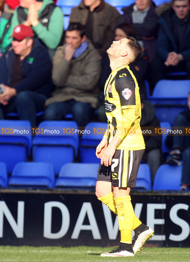 Jamie Cureton of Dagenham and Redbridge celebrates scoring the opening goal - Tranmere Rovers vs Dagenham and Redbridge - SkyBet League Two football at the Prenton Park Stadium on  07/03/15 - MANDATORY CREDIT: Dave Simpson/TGSPHOTO - Self billing applies where appropriate - 0845 094 6026 - contact@tgsphoto.co.uk - NO UNPAID USE