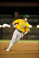 AZL Athletics center fielder Ben Spitznagel (18) takes third base on a wild pitch during a game against the AZL Giants on August 5, 2017 at Scottsdale Stadium in Scottsdale, Arizona. AZL Athletics defeated the AZL Giants 2-1. (Zachary Lucy/Four Seam Images)