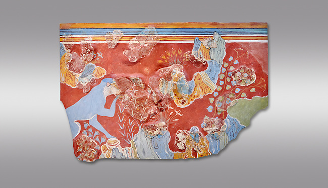 Minoan 'Blue Monkey' wall art fresco from the 'House of Frescoes' Knossos Palace, 1600-1500 BC. Heraklion Archaeological Museum.  Grey Background.