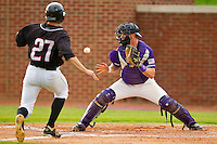 High Point Panthers catcher Spencer Angelis #11 waits for the ball as George Piccirilli #27 of the VMI Keydets tries to score at Willard Stadium on March 31, 2012 in High Point, North Carolina.  The Panthers defeated the Keydets 2-0.  (Brian Westerholt/Four Seam Images)