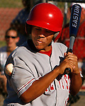 Norte Vista High School's Robert Archuleta gets hit by a pitch during a second-round CIF playoff game at Palm Desert High School, Tuesday, May 23, 2006. Norte Vista defeated Palm Desert 6-5.