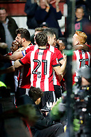 GOAL - Yoann Barbet of Brentford scores to make it 2-1 during the Sky Bet Championship match between Brentford and Leeds United at Griffin Park, London, England on 4 November 2017. Photo by Carlton Myrie.