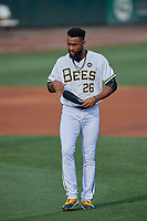 Jo Adell (26) of the Salt Lake Bees between innings against the New Orleans Baby Cakes at Smith's Ballpark on August 4, 2019 in Salt Lake City, Utah. The Baby Cakes defeated the Bees 8-2. (Stephen Smith/Four Seam Images)