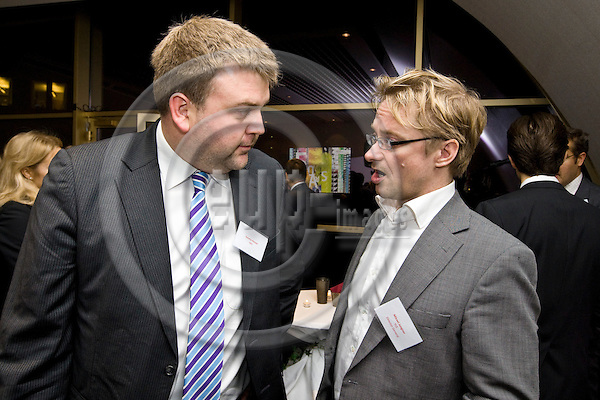 BRUSSELS - BELGIUM - 26 NOVEMBER 2009 --  Nordic Ministers for Culture meeting with the Heads of Nordic Public Service Broadcasters, reception at the EBU Brussels office. -- Tommy HANSEN, Head of Internationan Relations of the Norwegian Broadcasting Corporation (NRK) with Mickael JUNGNER Director General of the Finnish Broadcasting Corporation (YLE).  -- PHOTO: Juha ROININEN / EUP-IMAGES