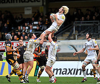 High Wycombe, England. Richie Gray of Sale Sharks wins the line out during the Aviva Premiership match between London Wasps and Sale Sharks at Adams Park on December 23. 2012 in High Wycombe, England.