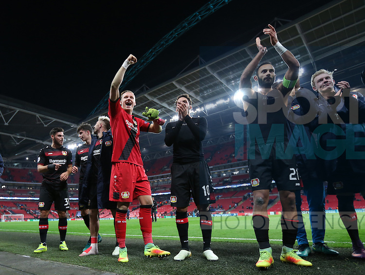 Leverksen's Bernd Leno celebrates at the final whistle during the Champions League group E match at the Wembley Stadium, London. Picture date November 2nd, 2016 Pic David Klein/Sportimage