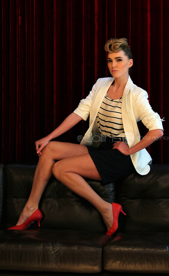 ***NO REPRODUCTION FEE PICTURE***.01/02/12 Sarah Morrissey wears a White Blazer at EUR60, Striped T Shirt at EUR25 and Navy Shorts at EUR35 pictured at the Morrison Hotel, Dublin this morning at the launch of the A Wear Spring Collection 2012...Picture Colin Keegan, Collins, Dublin. .***NO REPRODUCTION FEE PICTURE***