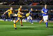 4th December 2017, St. Andrews Stadium, Birmingham, England; EFL Championship football, Birmingham City versus Wolverhampton Wanderers; Diogo Jota of Wolverhampton Wanderers gets a first strike on goal but is blocked