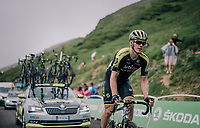 Michael Hepburn (AUS/Mitchelton Scott) is the last rider up the brutal Col du Portet (HC/2250m/16km at 8.7%/Souvenir Henri Desgrange) in this historically short stage (only 65km)<br /> <br /> Stage 17: Bagnères-de-Luchon > Saint-Lary-Soulan (65km)<br /> <br /> 105th Tour de France 2018<br /> ©kramon