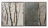 "Hyun: Passage 1207 A & B, Digital Print, 49"" x 87"" x 1.5"", Silver Leaf Float Frame"