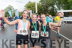 Sharon Cahill (second), Deirdre Nagle (first) and Siobhan Daly (third), who were the first three ladies home in the Rose of Tralee 10k on Sunday morning last.