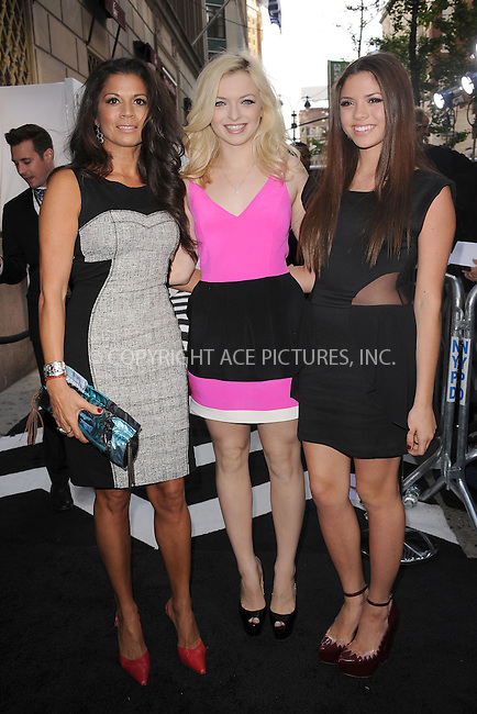 WWW.ACEPIXS.COM . . . . . .April 30, 2012...New York City....Dina Eastwood, Morgan Eastwood and Francesca Eastwood arriving to attend the E! 2012 Upfront at Gotham Hall on April 30, 2012  in New York City ....Please byline: KRISTIN CALLAHAN - ACEPIXS.COM.. . . . . . ..Ace Pictures, Inc: ..tel: (212) 243 8787 or (646) 769 0430..e-mail: info@acepixs.com..web: http://www.acepixs.com .