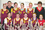 Castleisland Presentation Convent who finished runners up in the Senior A Girls District National School at the St Marys Christmas Basketball Blitz which was held in the Castleisland Community Centre on Saturday front row L/R: Sarah OConnor, Aoife Nolan, Eilis Lynch, Megan Hartnett, Orla White (Mascot), Back Row L/R: Grainne Bergen, Tommy Connor, Elaine OConnor, Aoife OSullivan, Niamh OConnor and Margaret OConnor.