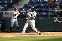 Cesar Galvez #6 of the Tri-City Dust Devils at bat during a game against the Everett AquaSox at Everett Memorial Stadium in Everett, Washington on June 19, 2013.  Everett defeated Tri-City 4-3.  (Ronnie Allen/Four Seam Images)