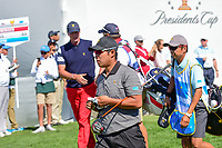Hideki Matsuyama (JPN) departs the first tee during round 4 Singles of the 2017 President's Cup, Liberty National Golf Club, Jersey City, New Jersey, USA. 10/1/2017. <br /> Picture: Golffile | Ken Murray<br /> <br /> All photo usage must carry mandatory copyright credit (&copy; Golffile | Ken Murray)
