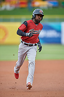 Alen Hanson (5) of the Sacramento River Cats hustles to third base against the Salt Lake Bees at Smith's Ballpark on April 19, 2018 in Salt Lake City, Utah. Salt Lake defeated Sacramento 10-7. (Stephen Smith/Four Seam Images)