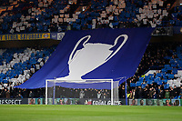 25th February 2020; Stamford Bridge, London, England; UEFA Champions League Football, Chelsea versus Bayern Munich; Chelsea fans hold up a giant Champions League Trophy banner