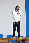 Glasgow 2014 Commonwealth Games<br /> An emotional Hannah Miley stands on the podium after she wins gold in the Women's 400m Individual Medley.<br /> Tollcross Swimming Centre<br /> <br /> 24.07.14<br /> &copy;Steve Pope-SPORTINGWALES