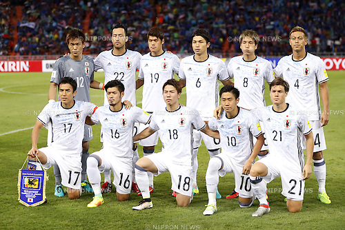 Japan National Team Group line-up, SEPTEMBER 6, 2016 - Football / Soccer : FIFA World Cup Russia 2018 Asian Qualifier Final Round Group B match between Thailand 0-2 Japan at Rajamangala National Stadium, Bangkok, Thailand. (Photo by Yusuke Nakanishi/AFLO SPORT)