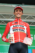 8th September 2017, Newmarket, England; OVO Energy Tour of Britain Cycling; Stage 6, Newmarket to Aldeburgh; Enzo WOUTERS (BEL) wins High 5 Combativity award