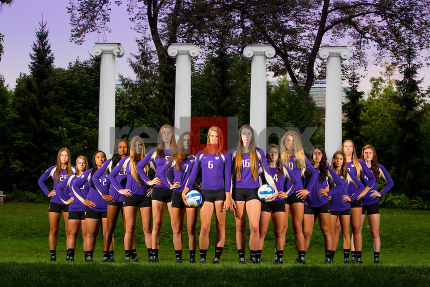The 2014-15 University of Washington volleyball team photographed on August 12, 2014. (Photography by Scott Eklund /Red Box Pictures)