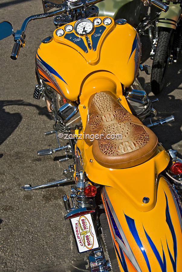 Harley-Davidson, yellow, Custom Leather, Saddle seat, Close up, motorcycle, Classic, American Heat, Palm Springs, CA, Motorcycle, & Hot Rod, Weekend