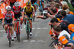The peloton with Koen Bouwman (NED) Team Jumbo-Visma on the 2nd ascent of Mur de Huy during the 2019 La Fl&egrave;che Wallonne running 195 km  from Ans to Mur de Huy, Belgium. 24th April 2019. Picture: Pim Nijland | Peloton Photos/Cyclefile<br /> <br /> All photos usage must carry mandatory copyright credit (Peloton Photos/Cyclefile | Pim Nijland)