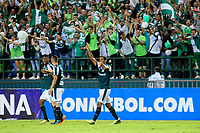 PALMIRA - COLOMBIA, 10-04-2018:José Sand del  Deportivo Cali de Colombia celebra su gol contra Danubio de Uruguay durante partido por la Copa Conmebol Sudamericana , llave 4, jugado en el estadio Deportivo Cali de Palmaseca. /Jose Sand player of Deportivo Cali of Colombia celebrates his goal agaisnt Danubio of Uruguay during match for the Conmebol Sudamerica Cup played at Palmaseca stadium in Cali.  Photo: VizzorImage / Nelson Rios / Contribuidor