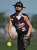 Kayleigh Roth #21, Mepham pitcher, delivers to the plate in the top of the third inning of a Nassau County Class A first round playoff game against Island Trees at Mepham High School on Friday, May 11, 2018. Mepham won 12-0 in five innings.