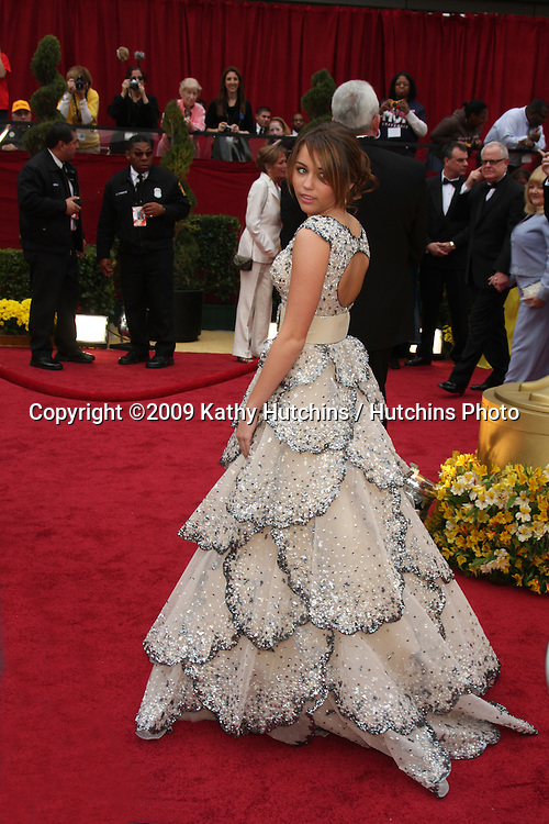 Miley Cyrus  arriving at the 81st Academy Awards at the Kodak Theater in Los Angeles, CA  on.February 22, 2009.©2009 Kathy Hutchins / Hutchins Photo...                .