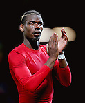 Paul Pogba of Manchester United applauds the fans at full time during the UEFA Europa League match at Old Trafford Stadium, Manchester. Picture date: September 29th, 2016. Pic Matt McNulty/Sportimage