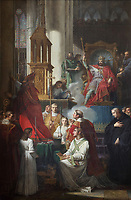 Charlemagne blessing the church at Saint-Denis in 775, painting by Charles Meynier, 1763-1832, in the sacristy of the Basilique Saint-Denis, Paris, France. The basilica is a large medieval 12th century Gothic abbey church and burial site of French kings from 10th - 18th centuries. Picture by Manuel Cohen