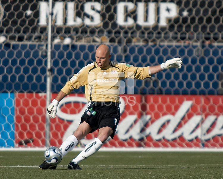 New England Revolution goalkeeper Matt Reis punts the ball.  The Houston Dynamo win MLS Cup 2006 over the New England Revolution after playing to a 1-1 tie during regulation and extra time at Pizza Hut Park in Frisco, TX on November 12, 2006.