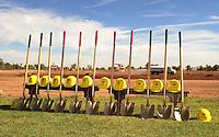 Jun. 16, 2009; Casa Grande, AZ, USA; Hard hats and shovels during the United Football League press conference for the groundbreaking of the Casa Grande Training Facility & Performance Institute in Casa Grande.  Mandatory Credit: Mark J. Rebilas-