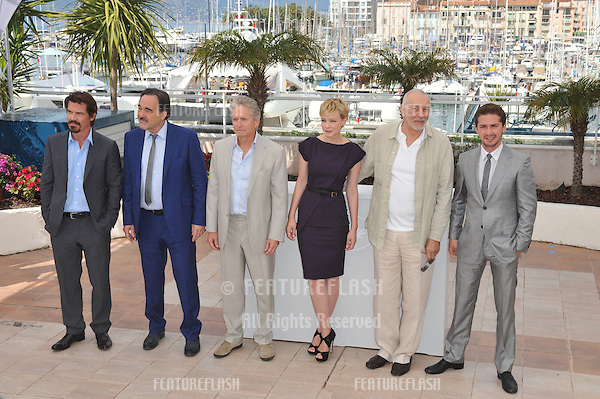 "Josh Brolin (left), Oliver Stone, Michael Douglas, Carey Mulligan, Frank Langella & Shia LeBeouf at the photocall for their new movie ""Wall Street: Money Never Sleeps"" at the 63rd Festival de Cannes..May 14, 2010  Cannes, France.Picture: Paul Smith / Featureflash"