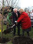 President of Ireland Michael D Higgins and President of An Taisce Eánna Ní Lamhna plant a tree at the launch of National Tree week in Ardee. Photo: Colin Bell/pressphotos.ie
