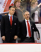 Dave Cameron (Canada - Assistant Coach), Willie Desjardins (Canada - Assistant Coach) - Team Canada defeated the Czech Republic 8-1 on the evening of Friday, December 26, 2008, at Scotiabank Place in Kanata (Ottawa), Ontario during the 2009 World Juniors U20 Championship.