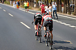 Breakaway men Alessandro De Marchi (ITA) BMC and Thomas De Gendt (BEL) Lotto-Soudal out front during Stage 13 of the 2017 La Vuelta, running 198.4km from Coin to Tomares, Seville, Spain. 1st September 2017.<br />