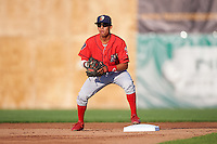 Williamsport Crosscutters second baseman Jose Antequera (2) waits for a throw during a game against the Auburn Doubledays on June 25, 2016 at Falcon Park in Auburn, New York.  Auburn defeated Williamsport 5-4.  (Mike Janes/Four Seam Images)