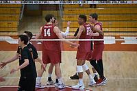 STANFORD, CA - December 30, 2017: Kyler Presho, Jaylen Jasper, Evan Enriques at Burnham Pavilion. The Stanford Cardinal defeated the Calgary Dinos 3-1.