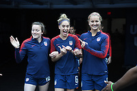 Cleveland, Ohio - Tuesday June 12, 2018: Rose Lavelle, Morgan Brian during an international friendly match between the women's national teams of the United States (USA) and China PR (CHN) at FirstEnergy Stadium.