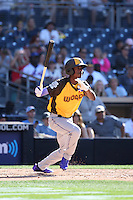 Raimel Tapia of the World Team bats against the USA Team during The Futures Game at Petco Park on July 10, 2016 in San Diego, California. World Team defeated USA Team, 11-3. (Larry Goren/Four Seam Images)