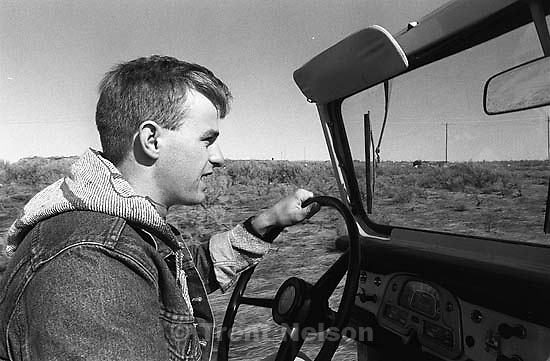 Christian Godfrey driving his Land Cruiser.<br />