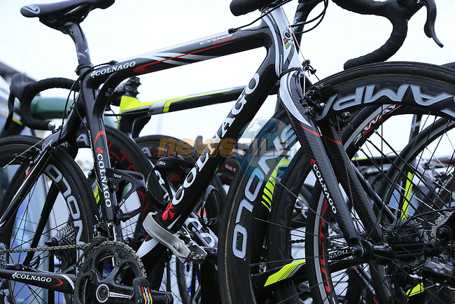 Team Europcar Colnago Prestige cyclocross bikes on the team car in Compiegne for the 112th edition of the 257 km Paris-Roubaix cycle race held over the cobbled roads of Northern France. 13th April 2014.<br /> Picture: Eoin Clarke www.newsfile.ie
