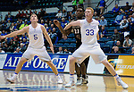 January 24, 2017:  Air Force guard, Zach Kocur #5, and center, Frank Toohey #33, control the rebound lane during the NCAA basketball game between the San Diego State Aztecs and the Air Force Academy Falcons, Clune Arena, U.S. Air Force Academy, Colorado Springs, Colorado.  Air Force defeats San Diego State 60-57.