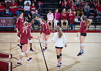 STANFORD, CA - November 2, 2018: Kathryn Plummer, Tami Alade, Jenna Gray, Audriana Fitzmorris, Meghan McClure, Morgan Hentz at Maples Pavilion. No. 1 Stanford Cardinal defeated No. 15 Colorado Buffaloes 3-2.