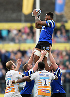 Levi Douglas of Bath Rugby wins the ball at a lineout. Gallagher Premiership match, between Bath Rugby and Wasps on May 5, 2019 at the Recreation Ground in Bath, England. Photo by: Patrick Khachfe / Onside Images
